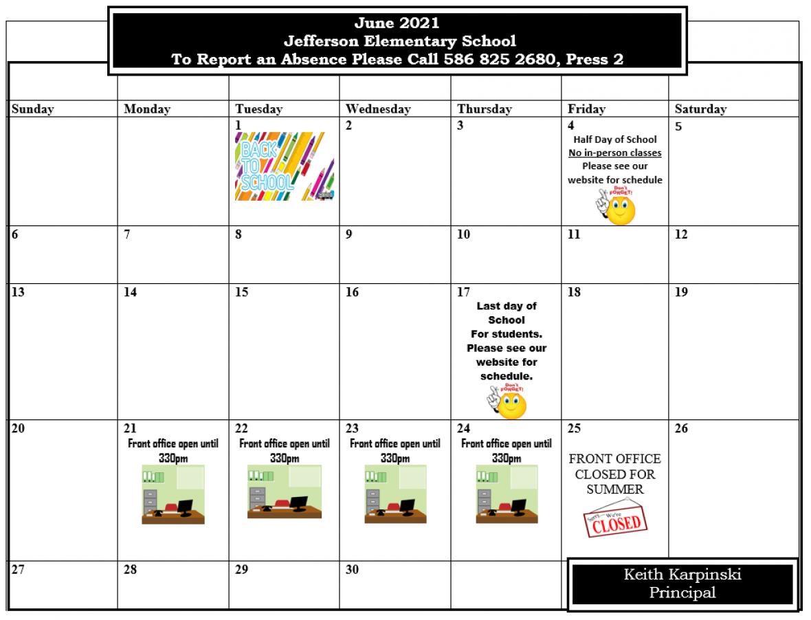 Jefferson Picture Calendar June 2021