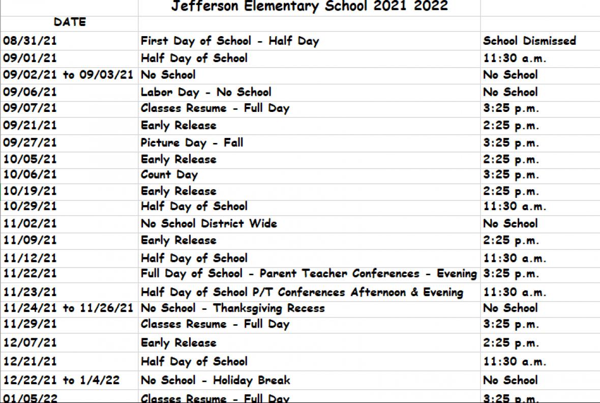 Jefferson Aug thru Dec calendar