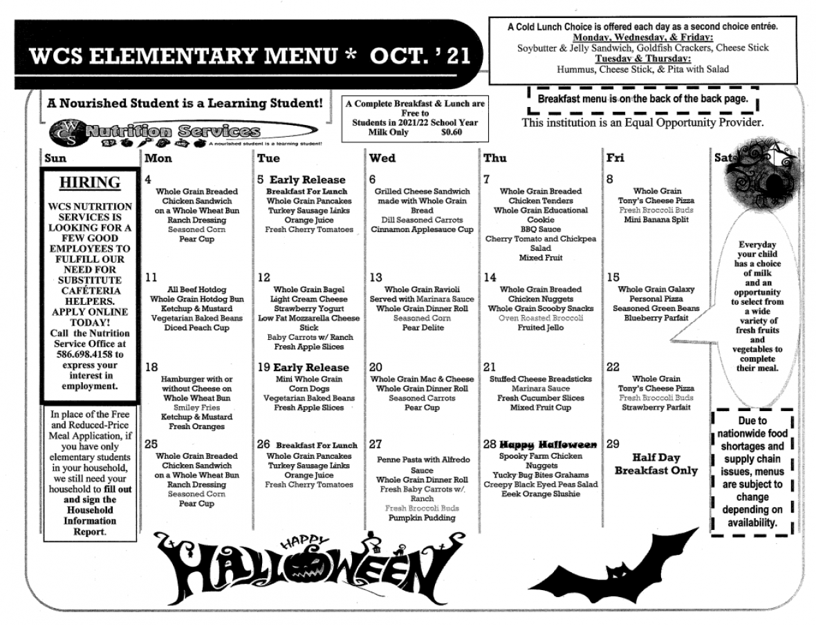 October Meal Calendar