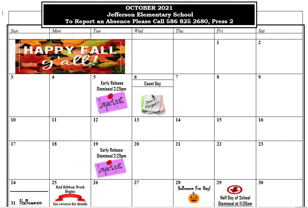 October Picture Calendar