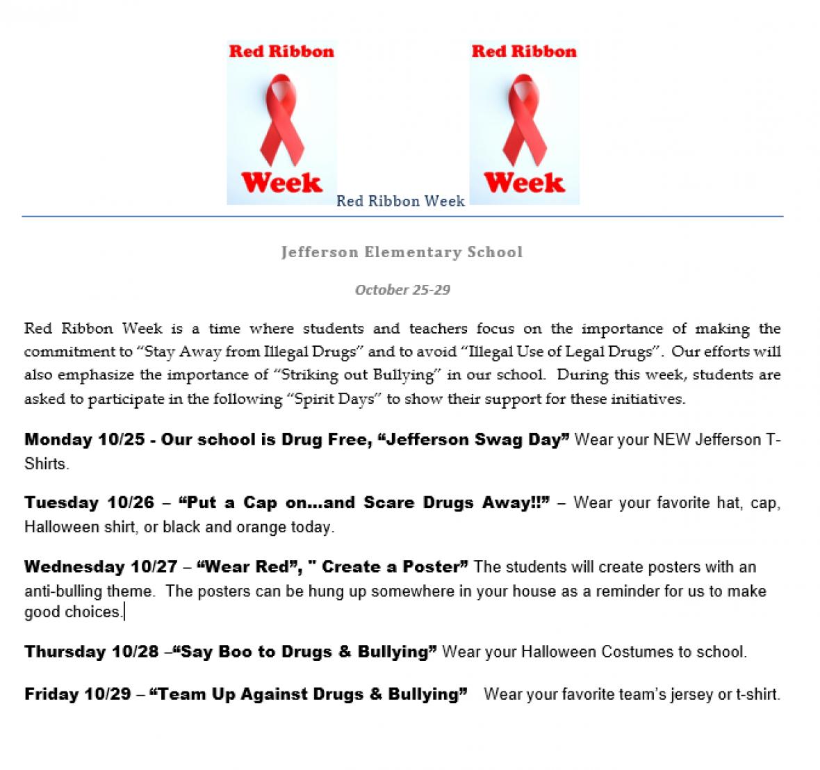 Red Ribbon Week at Jefferson